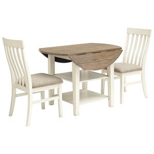 3-Piece Two-Tone Drop Leaf Table Set