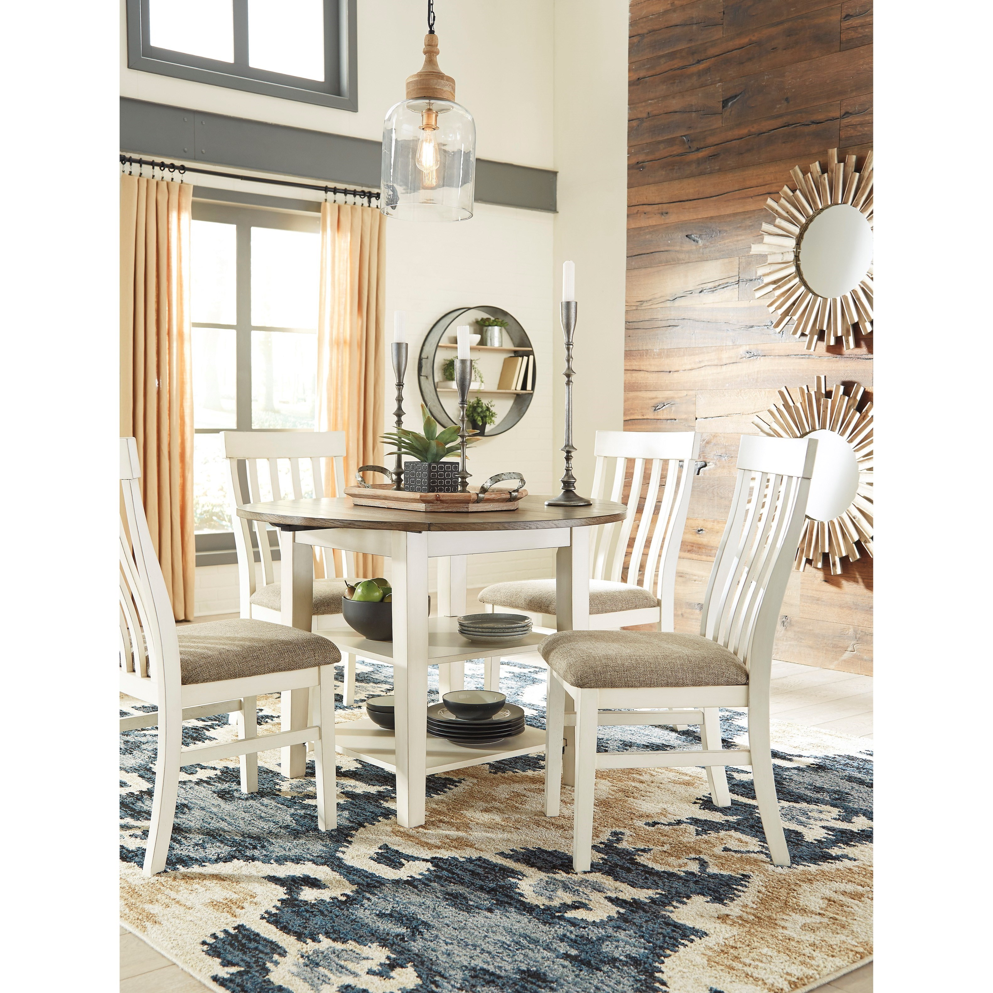 Dining Room Table Leaves: Bardilyn Two-Tone Round Dining Room Drop Leaf Table With