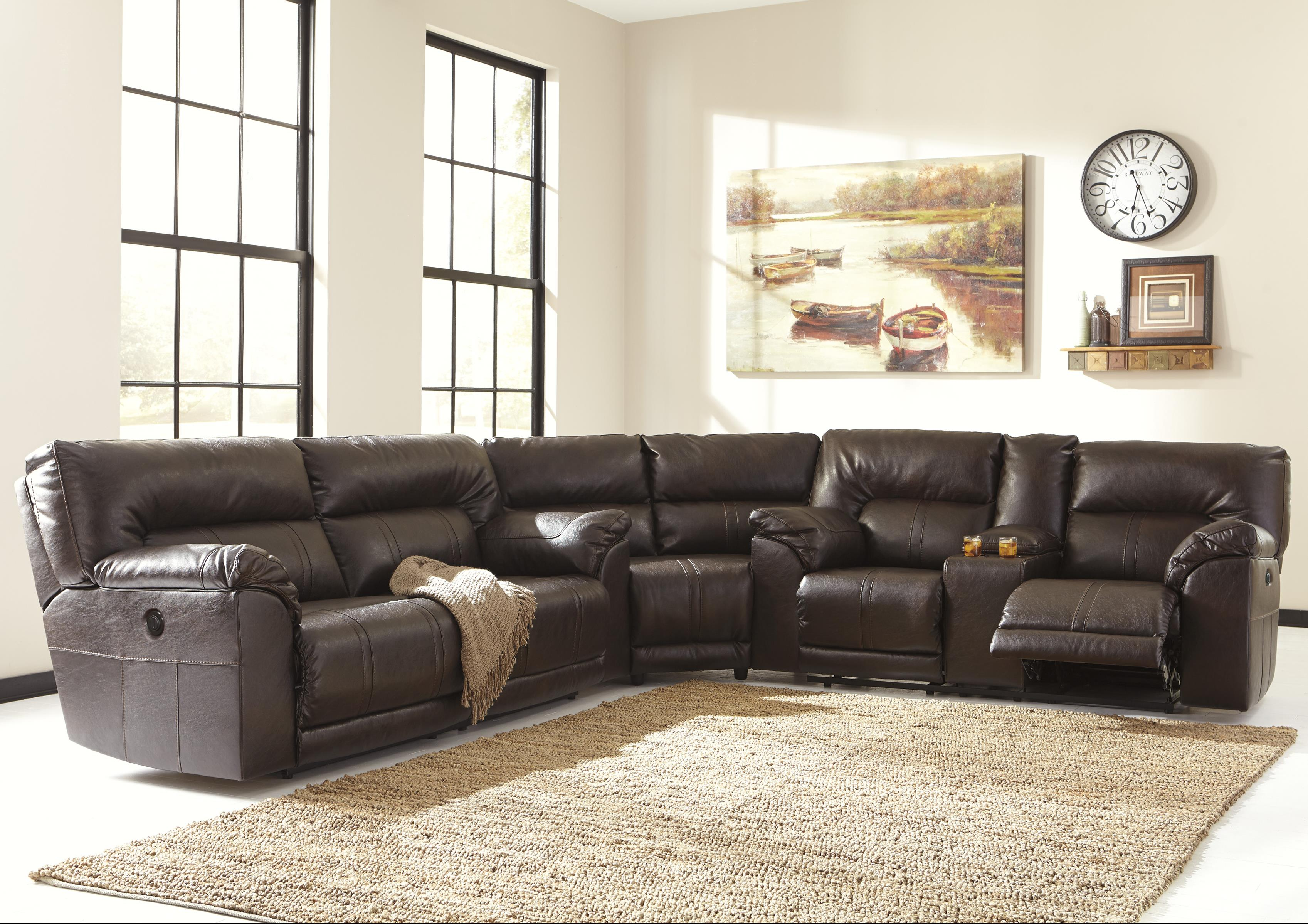 Benchcraft Barrettsville DuraBlend® 3-Piece Power Reclining Sectional - Item Number: 4730147+77+96
