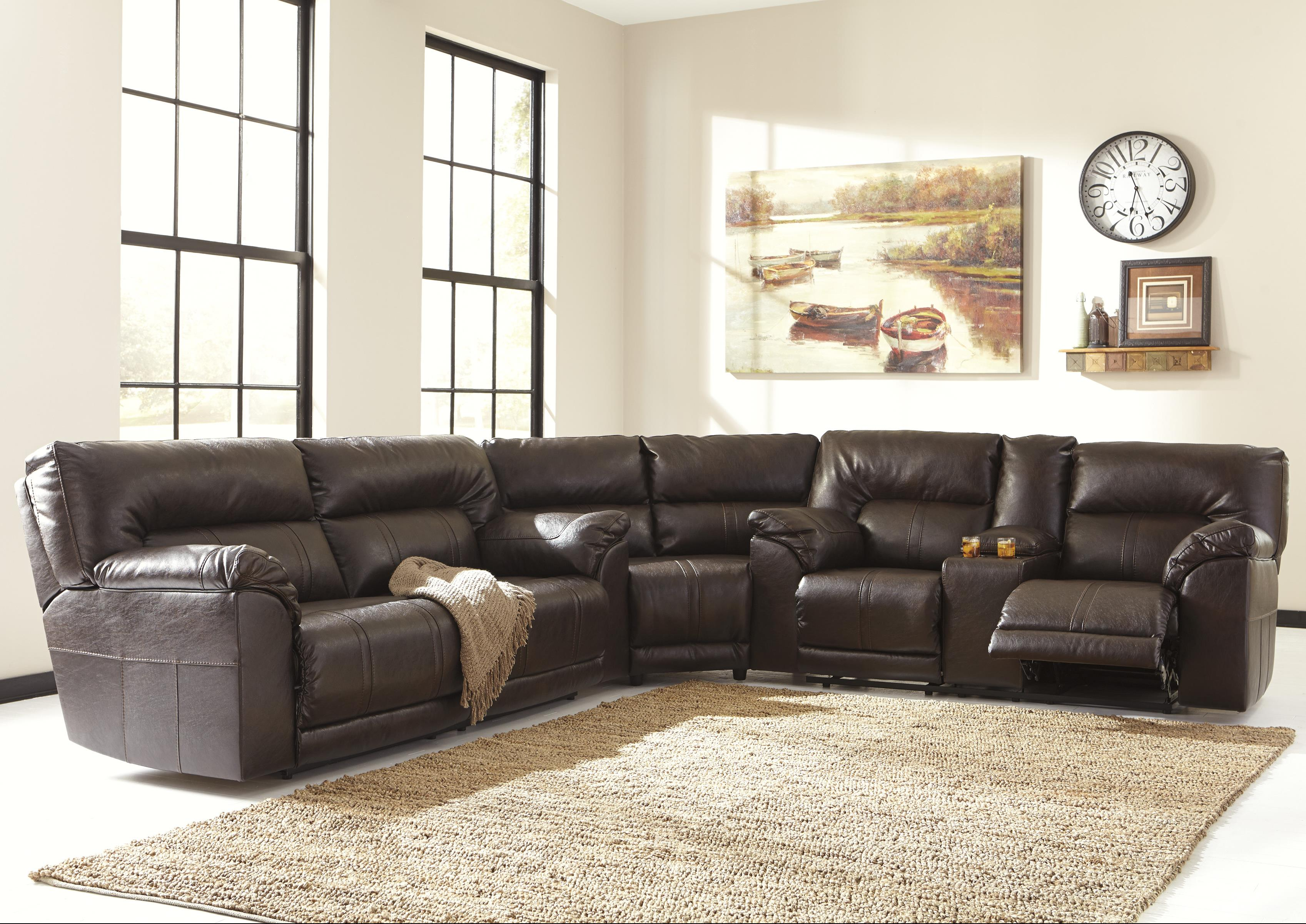 Benchcraft Barrettsville DuraBlend® 3-Piece Reclining Sectional - Item Number 4730181+77 : reclining sectional sofa - islam-shia.org