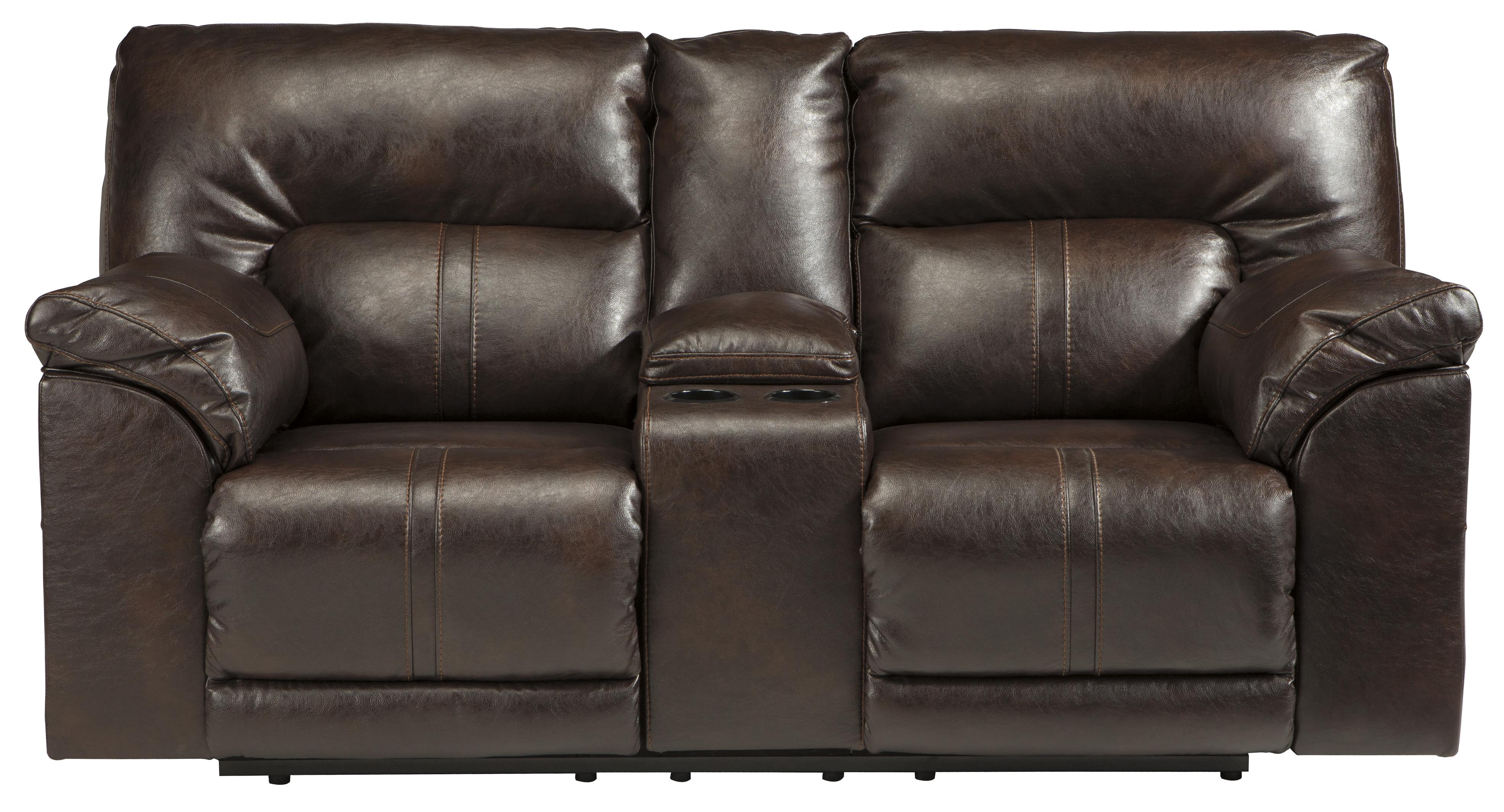 Benchcraft Barrettsville DuraBlend® Double Rec Power Loveseat w/ Console - Item Number: 4730196