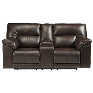 Benchcraft Barrettsville DuraBlend® Double Rec Power Loveseat w/ Console