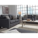 Benchcraft Bavello Contemporary Loveseat with Track Arms