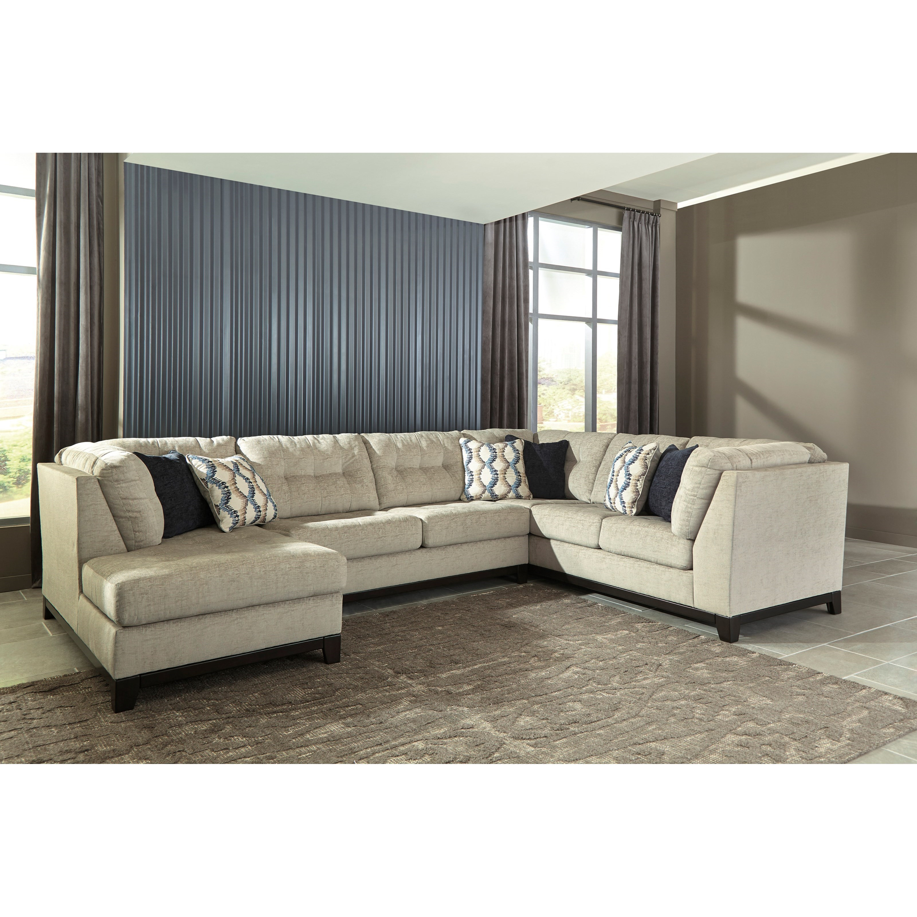 Benchcraft beckendorf 3 piece sectional with left chaise for 3 piece sectional sofa with chaise