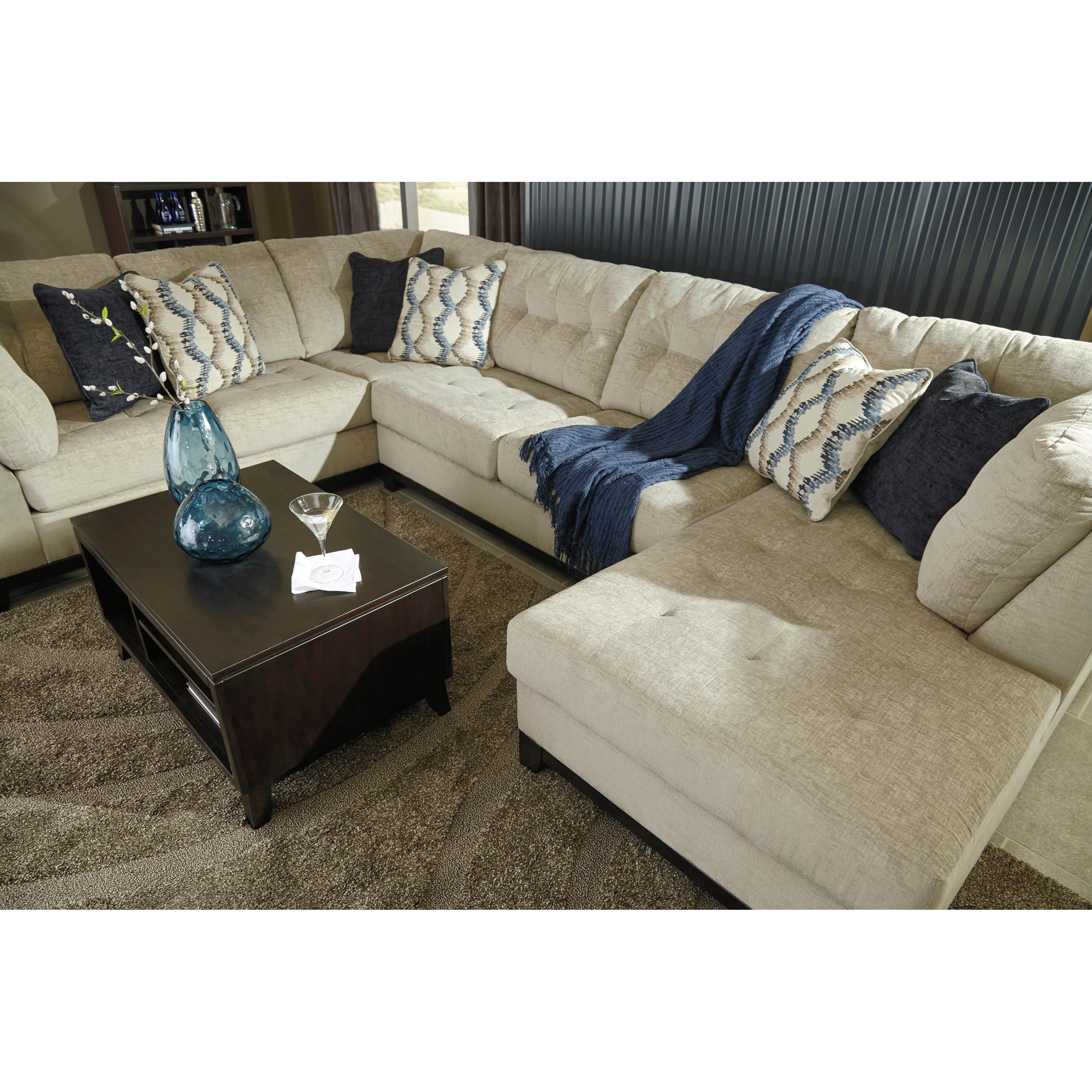 Benchcraft beckendorf 3 piece sectional with right chaise for 3 piece sectional sofa with chaise