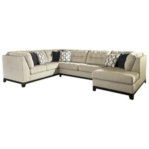 Benchcraft Beckendorf 3-Piece Sectional w/ Chaise & Sleeper