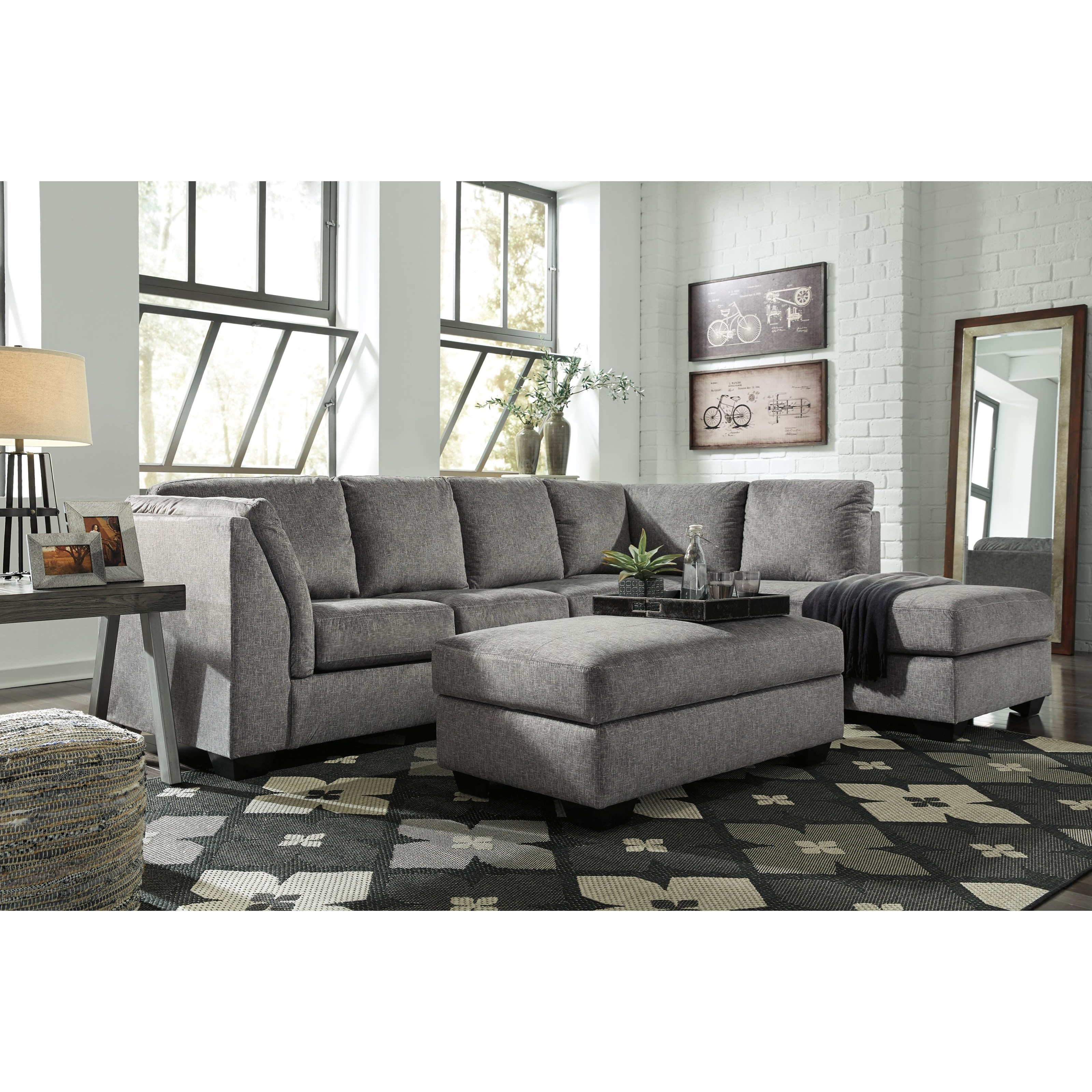 Benchcraft by ashley belcastel 2 piece sectional with for Andrea 2 piece sleeper chaise