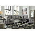 Benchcraft Belcastel 2-Piece Sectional with Right Chaise & Sleeper Sofa in Gray Fabric