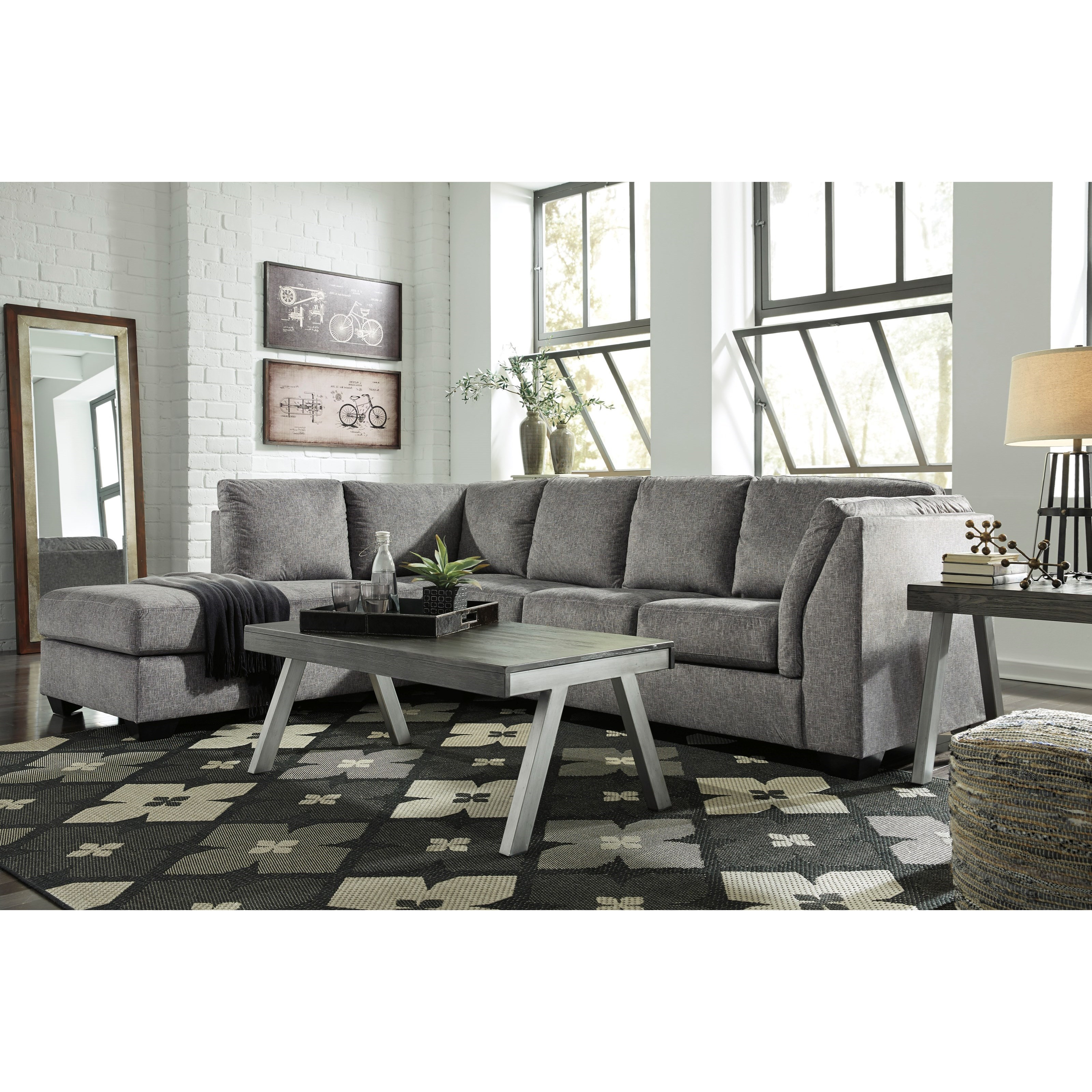 Benchcraft by ashley belcastel 2 piece sectional with left for 2 piece sectional sofa with chaise