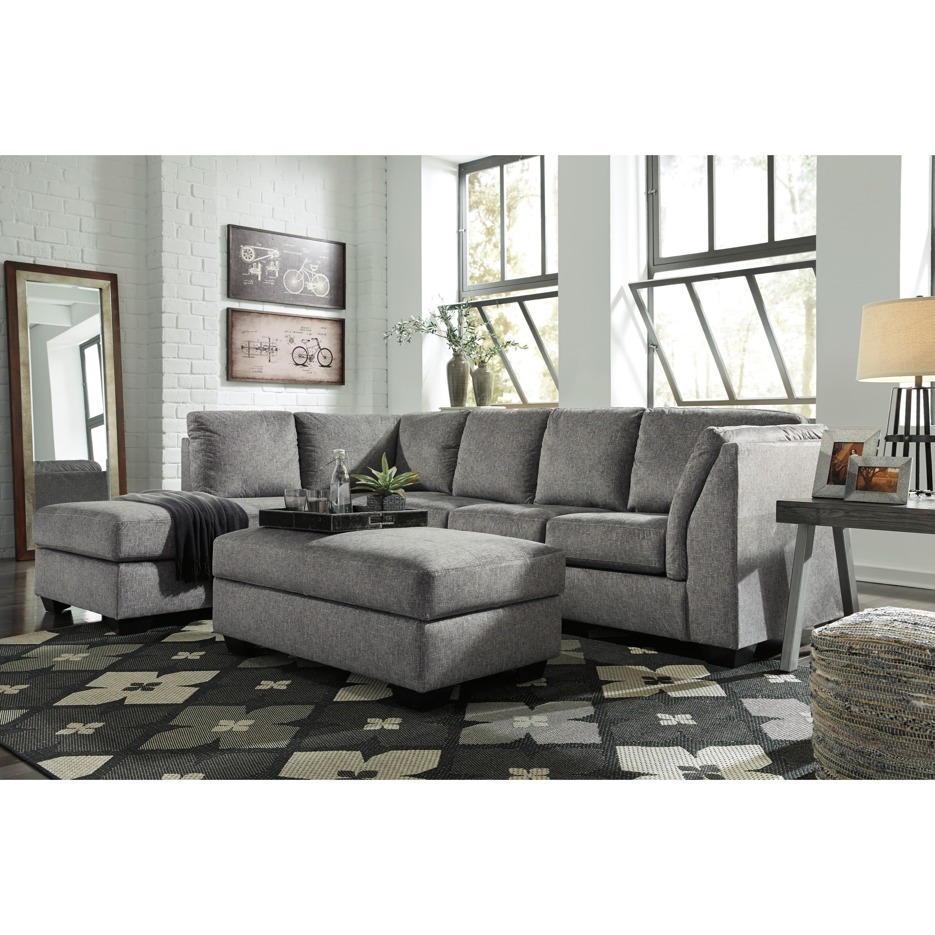 Benchcraft belcastel 2 piece sectional with left chaise for Andrea 2 piece sleeper chaise