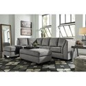 Benchcraft Belcastel 2-Piece Sectional with Left Chaise & Sleeper Sofa in Gray Fabric