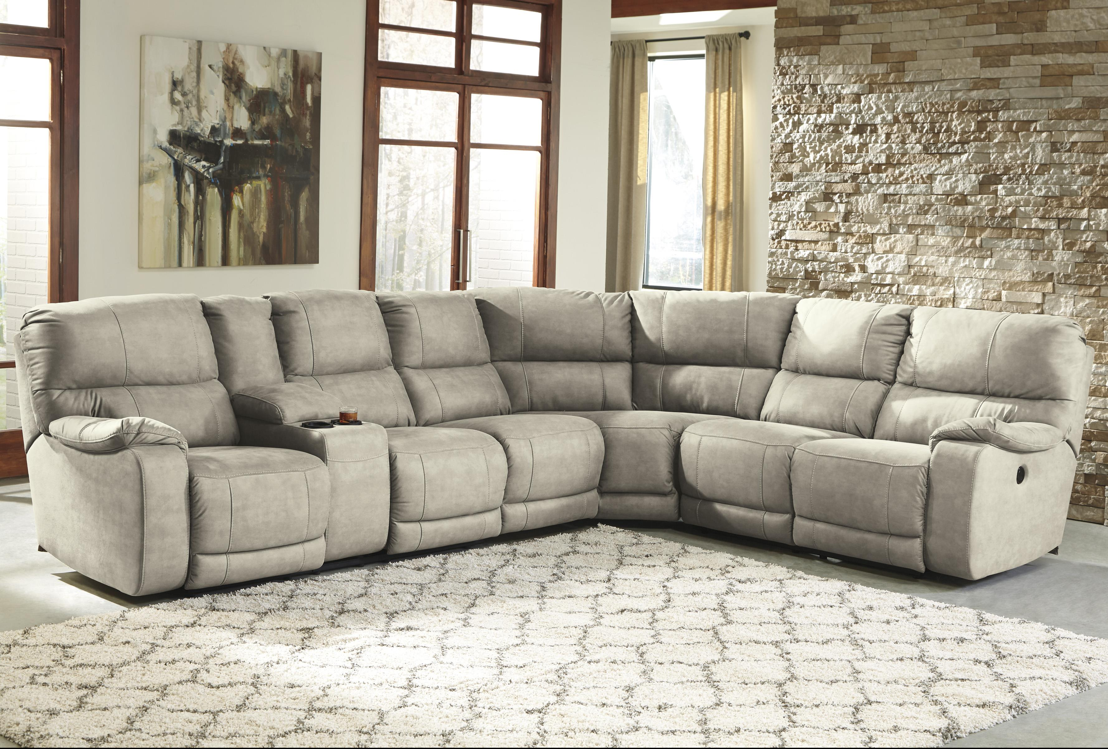 Benchcraft Bohannon Power Reclining Sectional with Console - Item Number: 5740101+46+77+75
