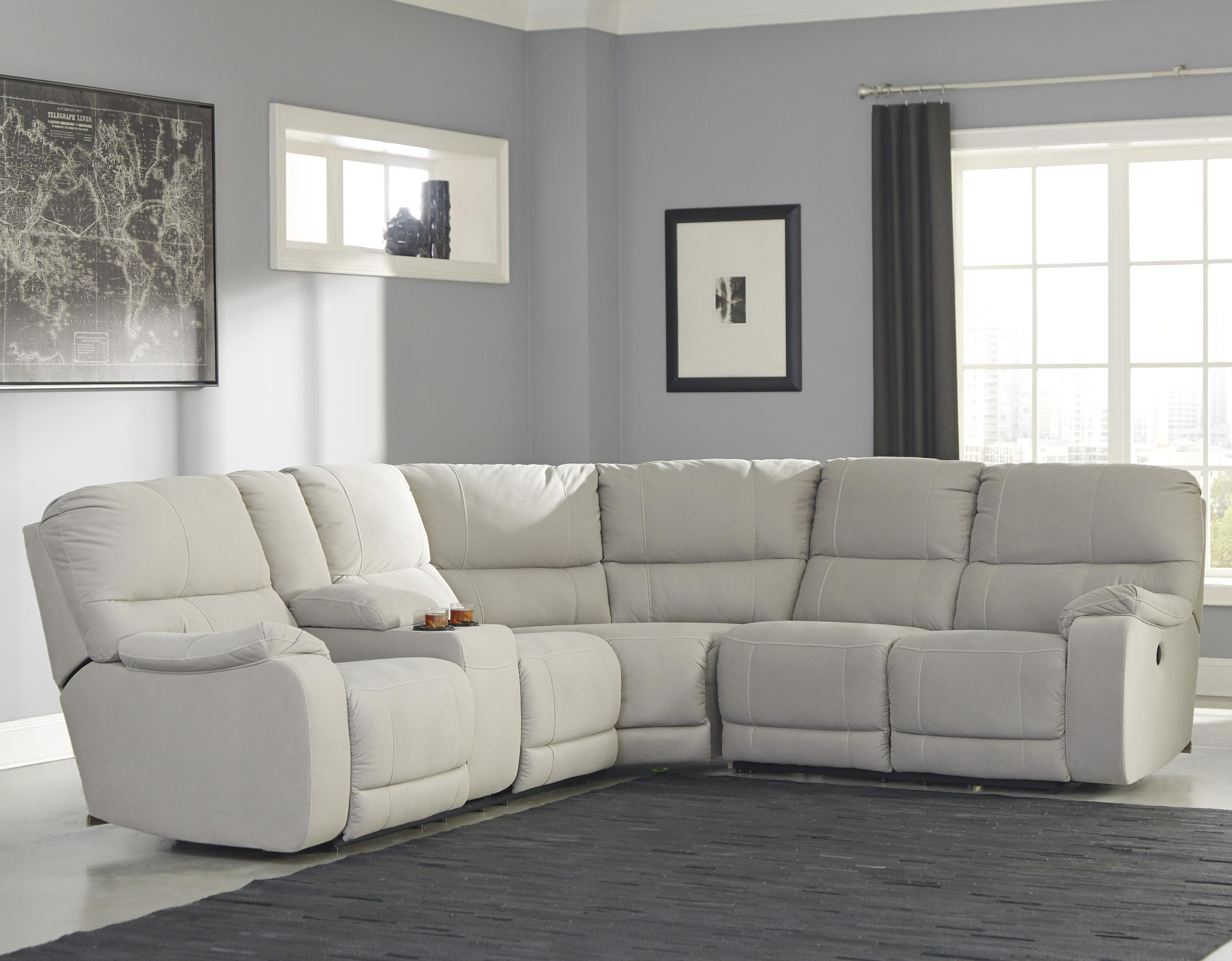 Benchcraft Bohannon Power Reclining Sectional with Console - Item Number: 5740101+77+75