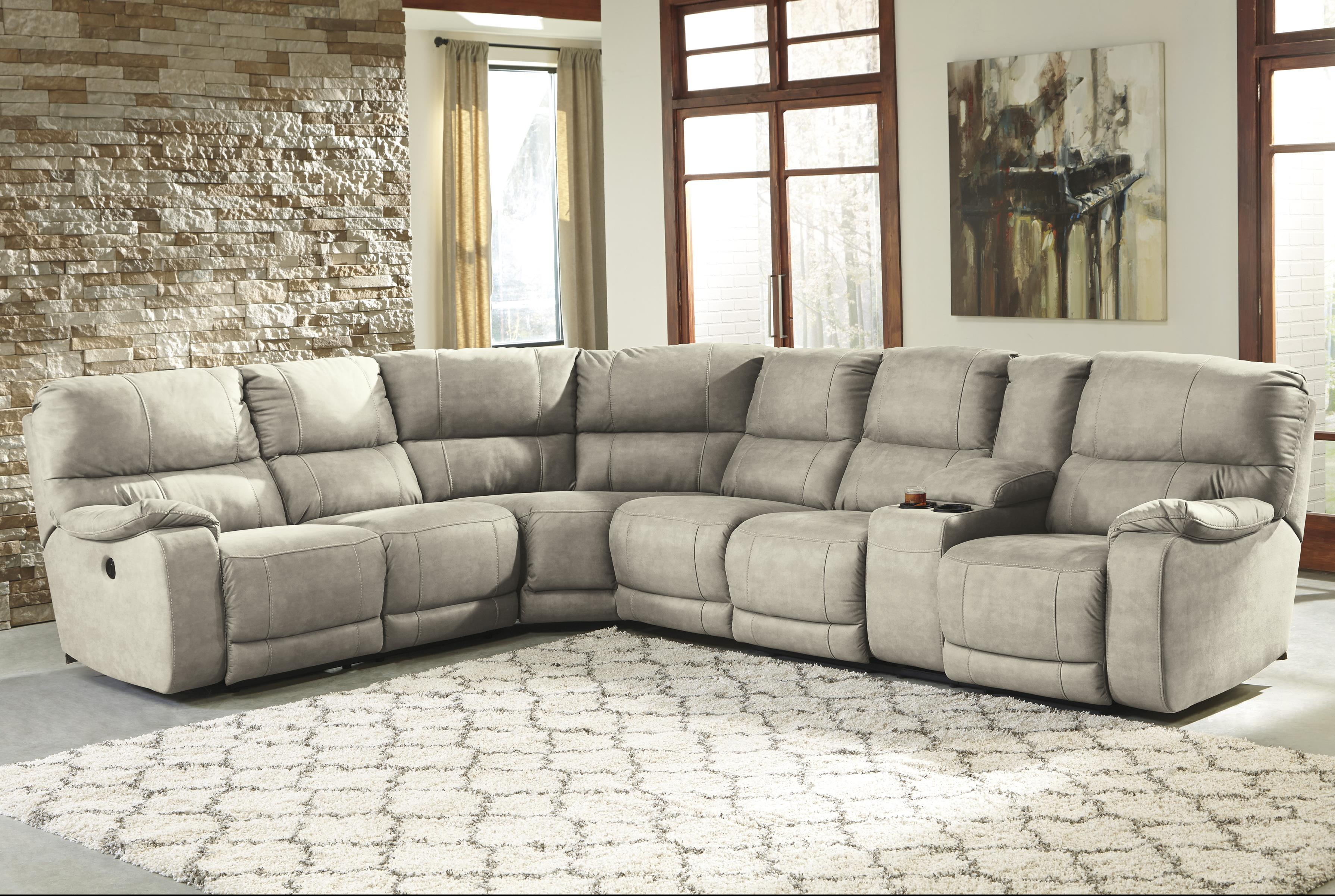 Benchcraft Bohannon Power Reclining Sectional with Console - Item Number: 5740163+77+46+90