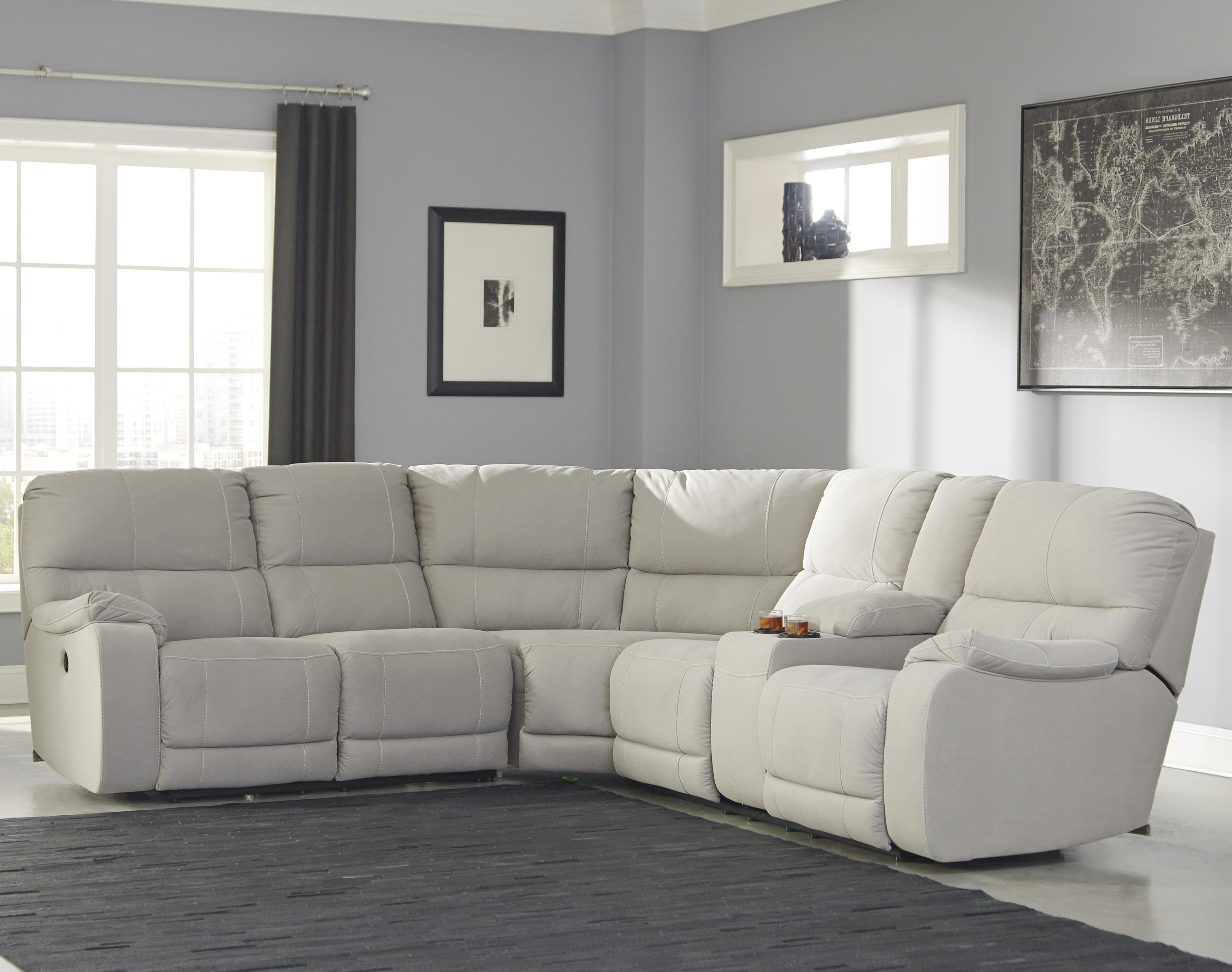 Benchcraft Bohannon Power Reclining Sectional with Console - Item Number: 5740163+77+90