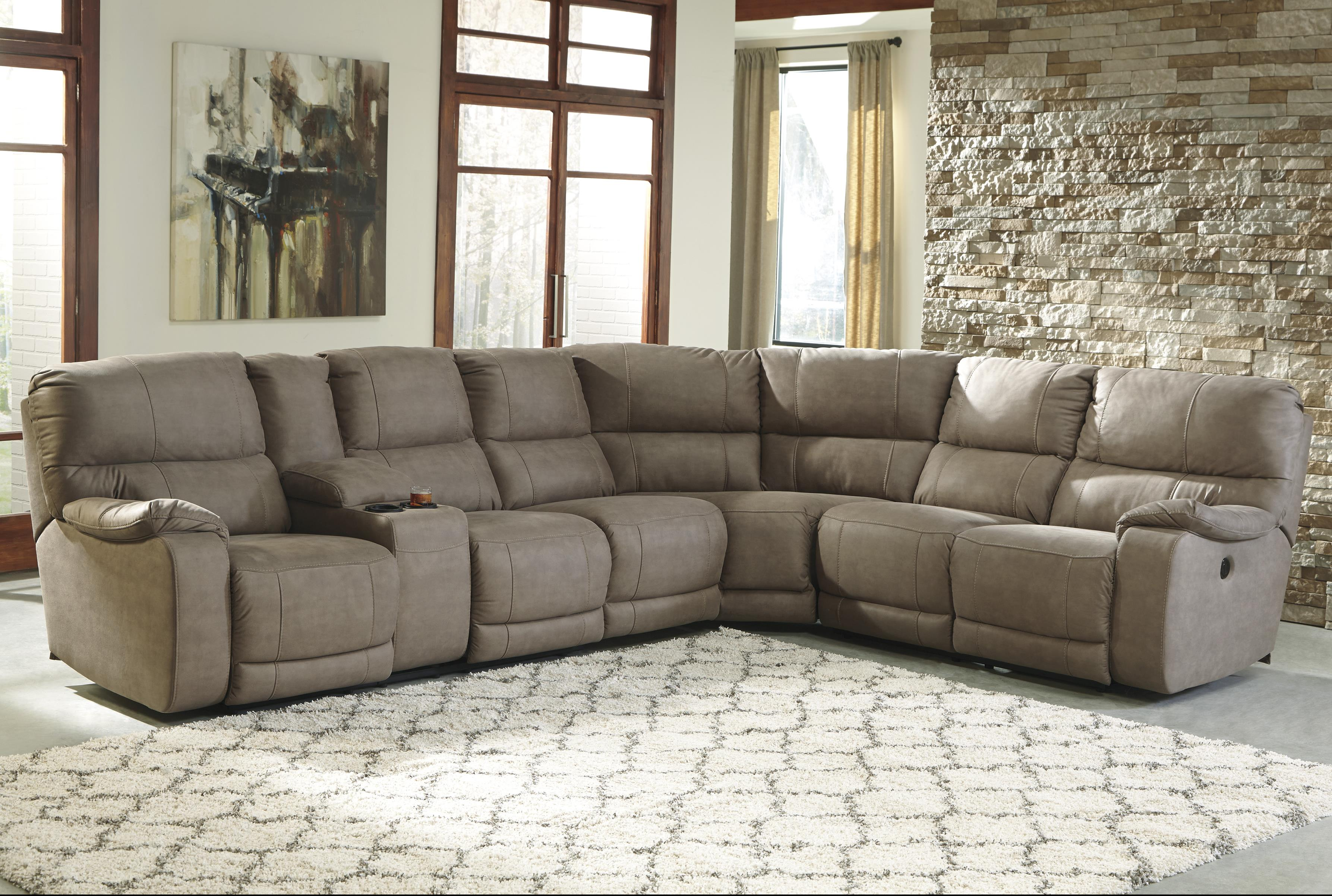 Benchcraft Bohannon Power Reclining Sectional with Console - Item Number: 5740301+46+77+75