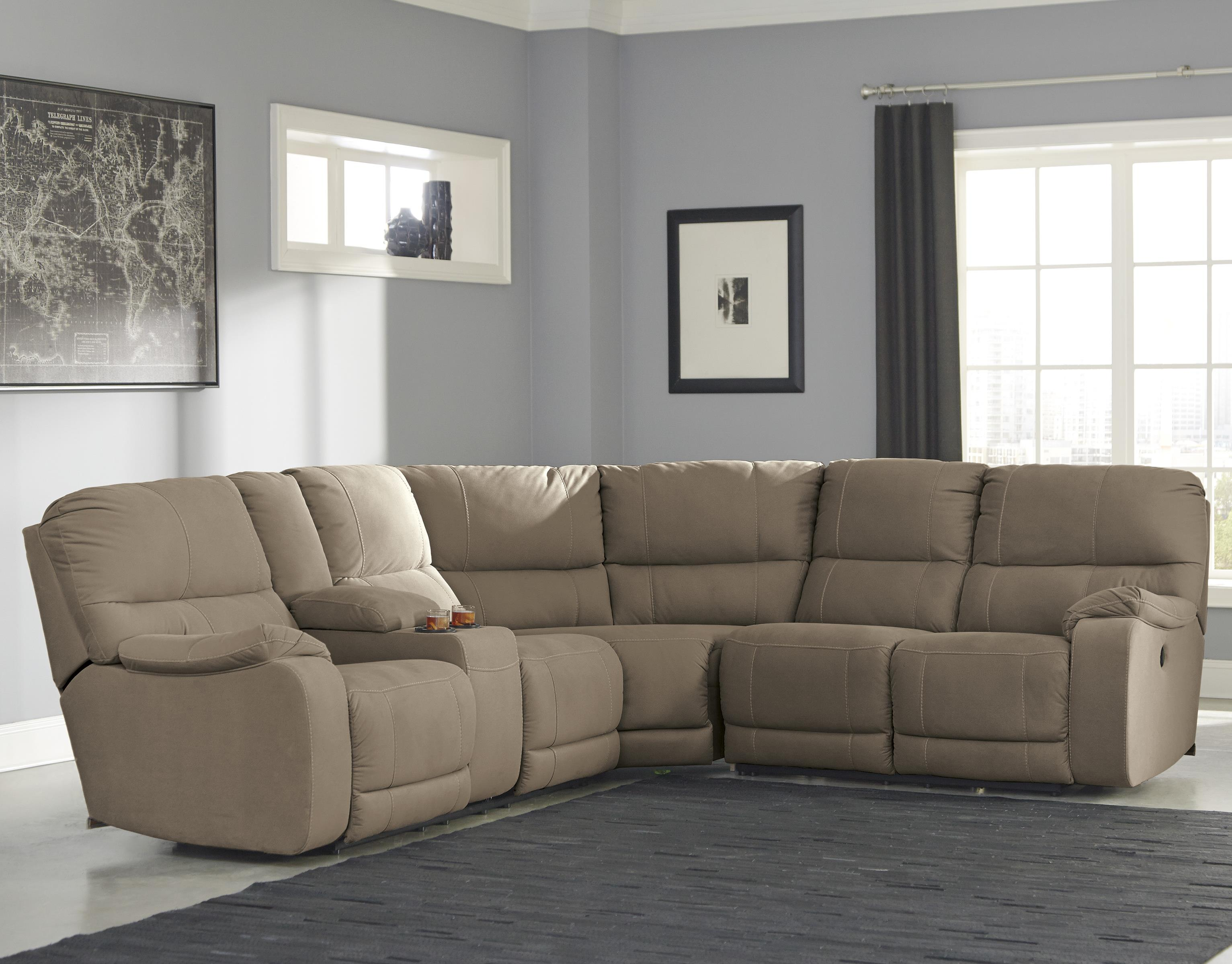 Benchcraft Bohannon Power Reclining Sectional with Console - Item Number: 5740301+77+75