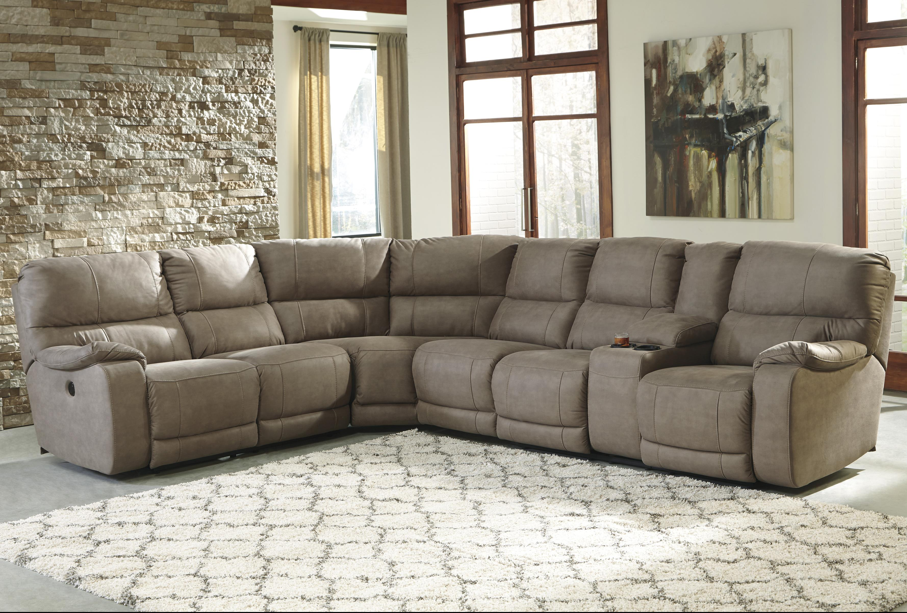 Benchcraft Bohannon Power Reclining Sectional with Console - Item Number: 5740363+77+46+90