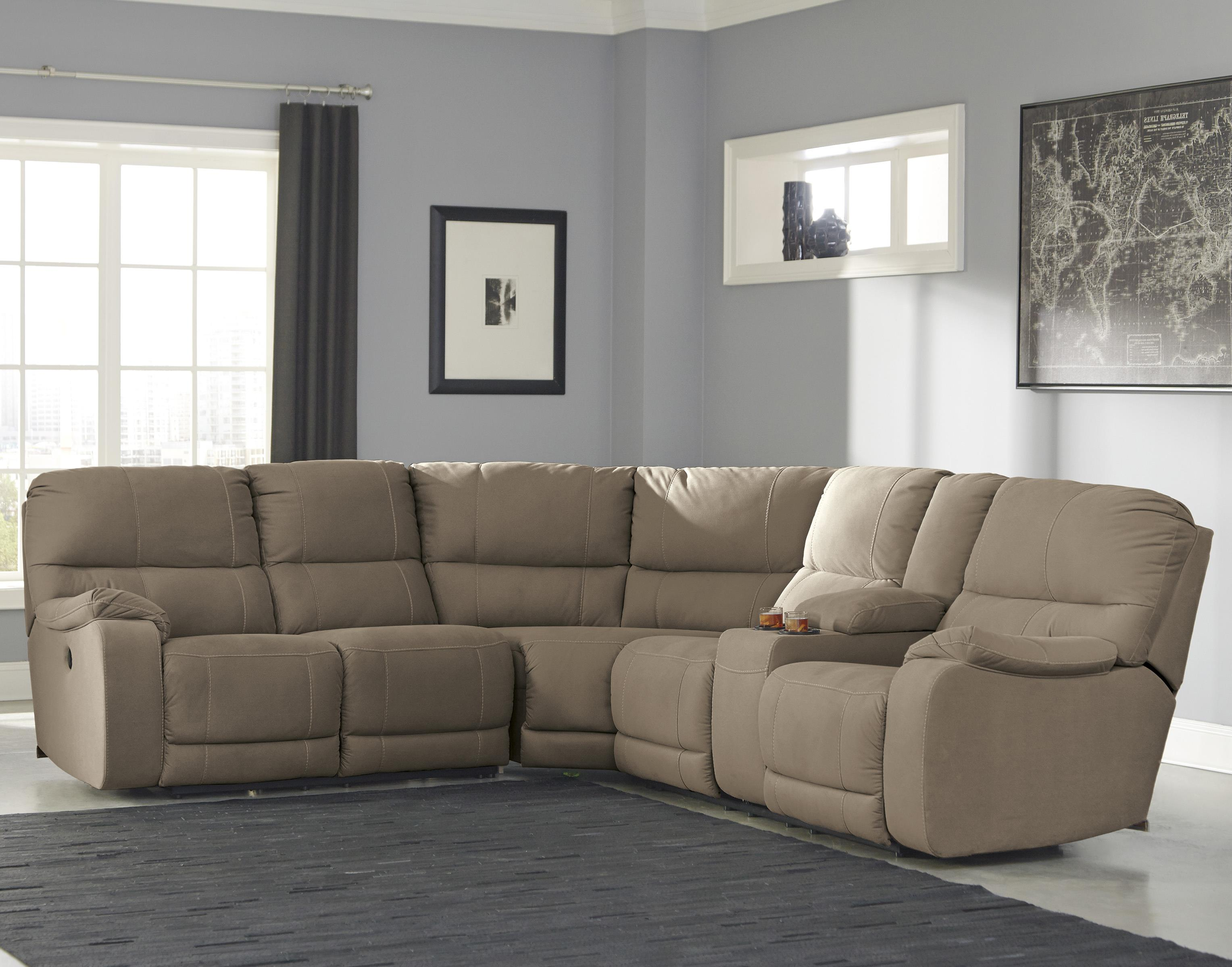 Benchcraft Bohannon Power Reclining Sectional with Console - Item Number: 5740363+77+90
