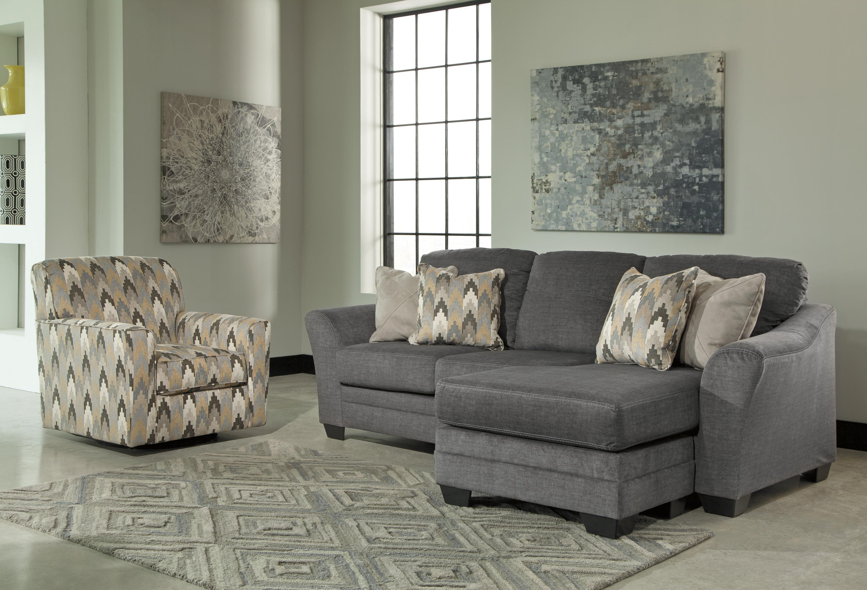 Benchcraft braxlin contemporary sofa chaise in gray fabric for Benchcraft chaise lounge