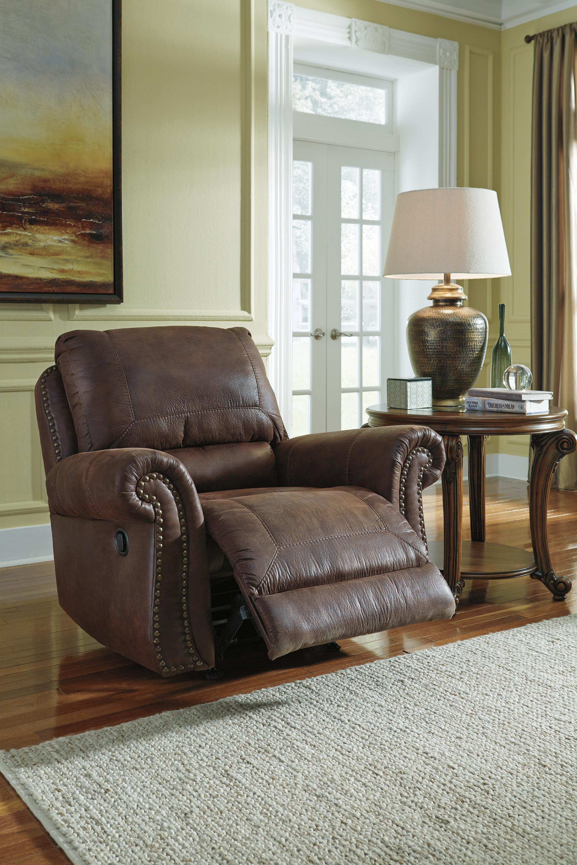 Benchcraft Breville Faux Leather Rocker Recliner With