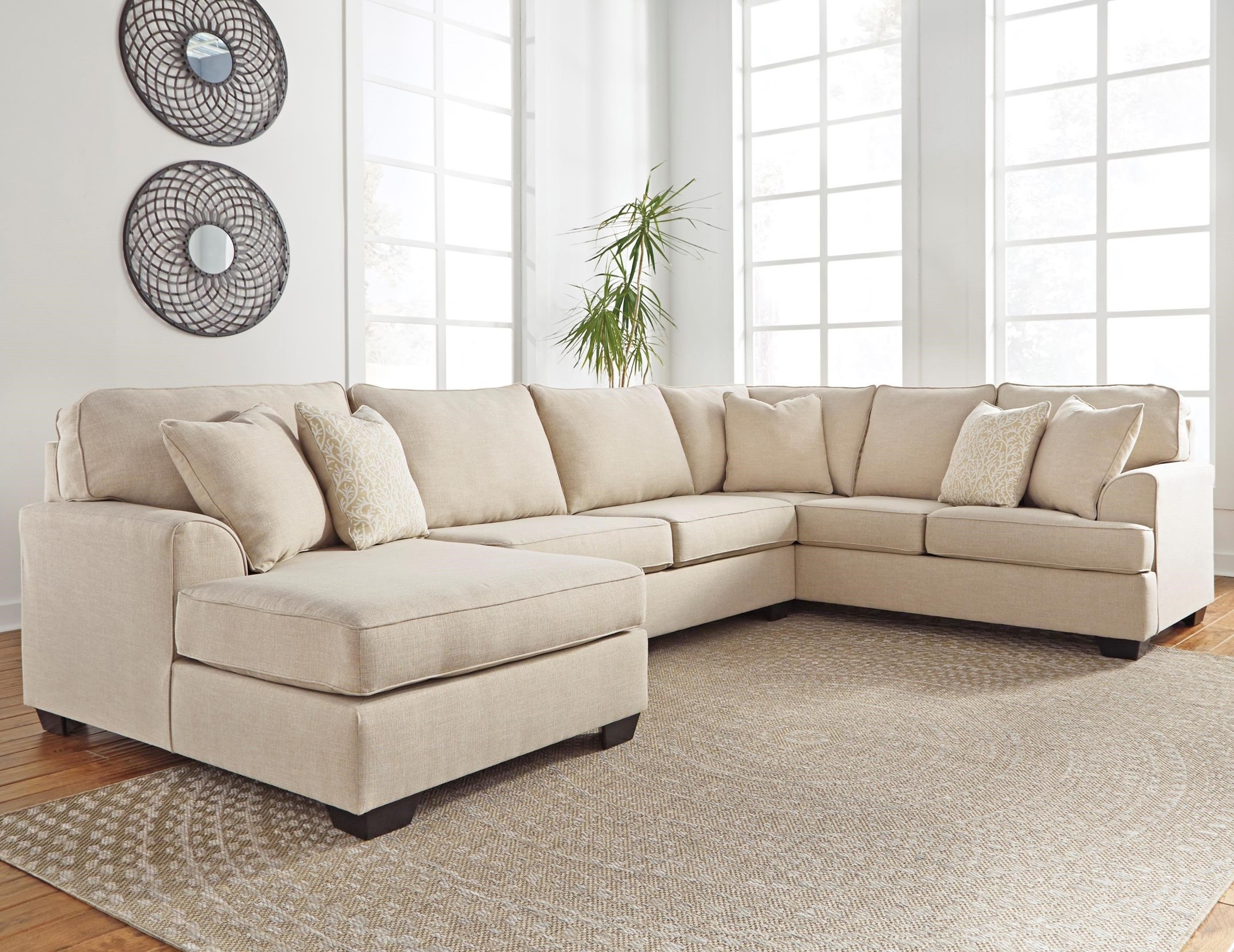 Benchcraft Brioni Nuvella Sectional with Chaise - Item Number: 6230516+34+67