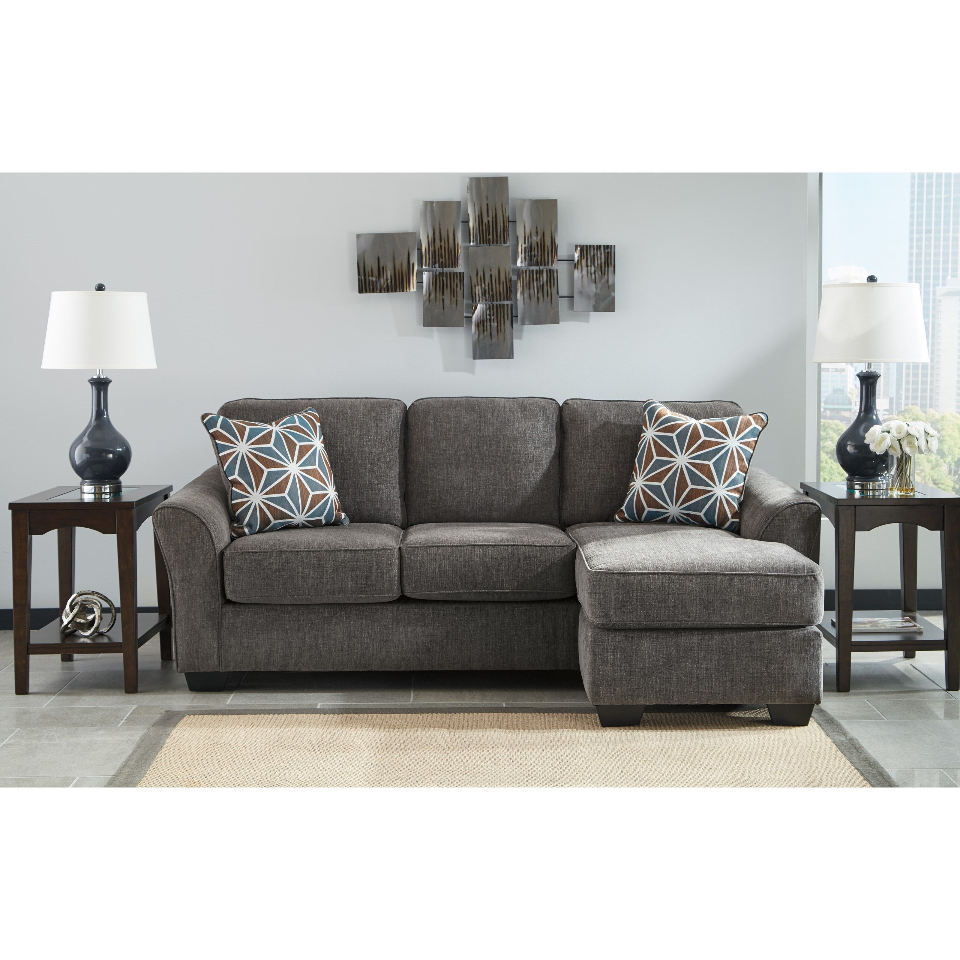 Benchcraft by ashley brise casual contemporary sofa chaise for Benchcraft chaise lounge