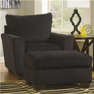 Benchcraft Brogain - Ebony Chair & Ottoman Set