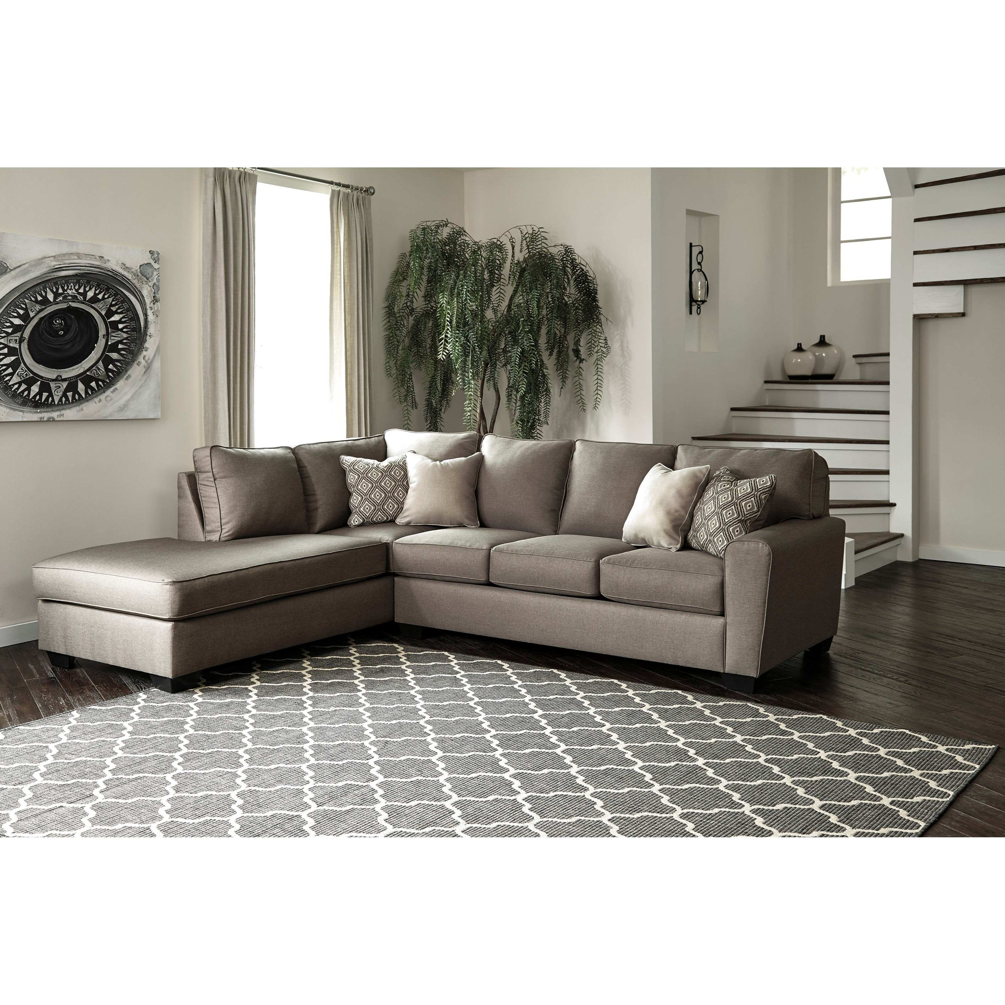 Modern Sectional Sofas Houston: Benchcraft Calicho Contemporary Sectional With Left Chaise
