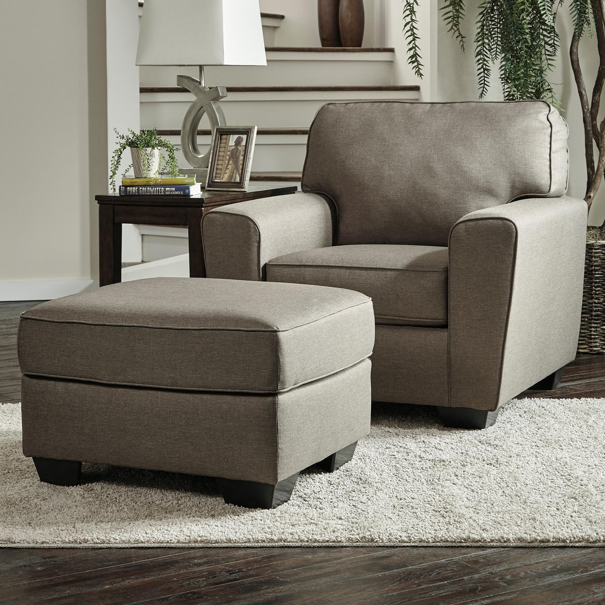 Ottoman In Living Room: Benchcraft Calicho Contemporary Chair & Ottoman