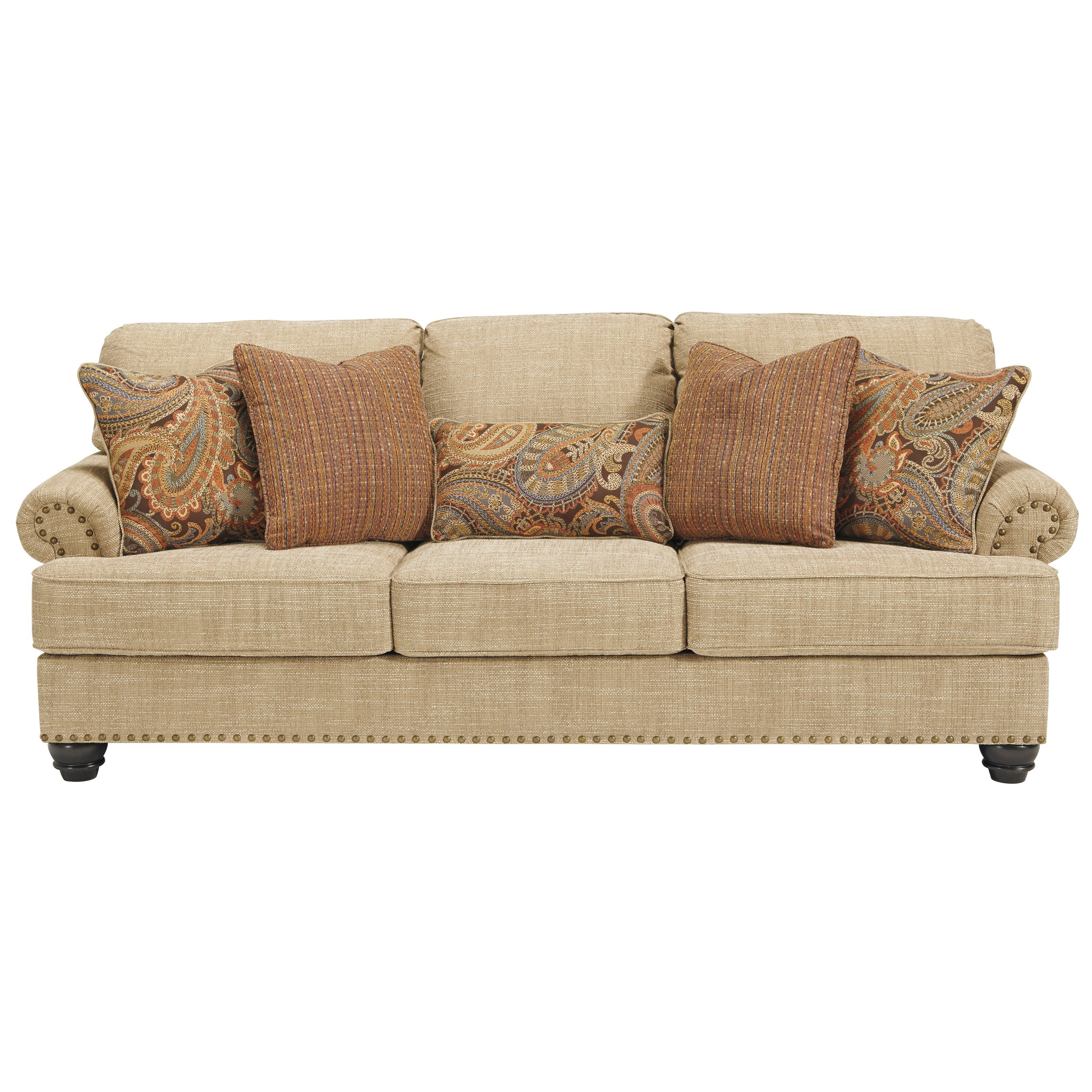 Candoro Queen Size Sofa Sleeper With Nail Head Trim By Benchcraft At John V Schultz Furniture