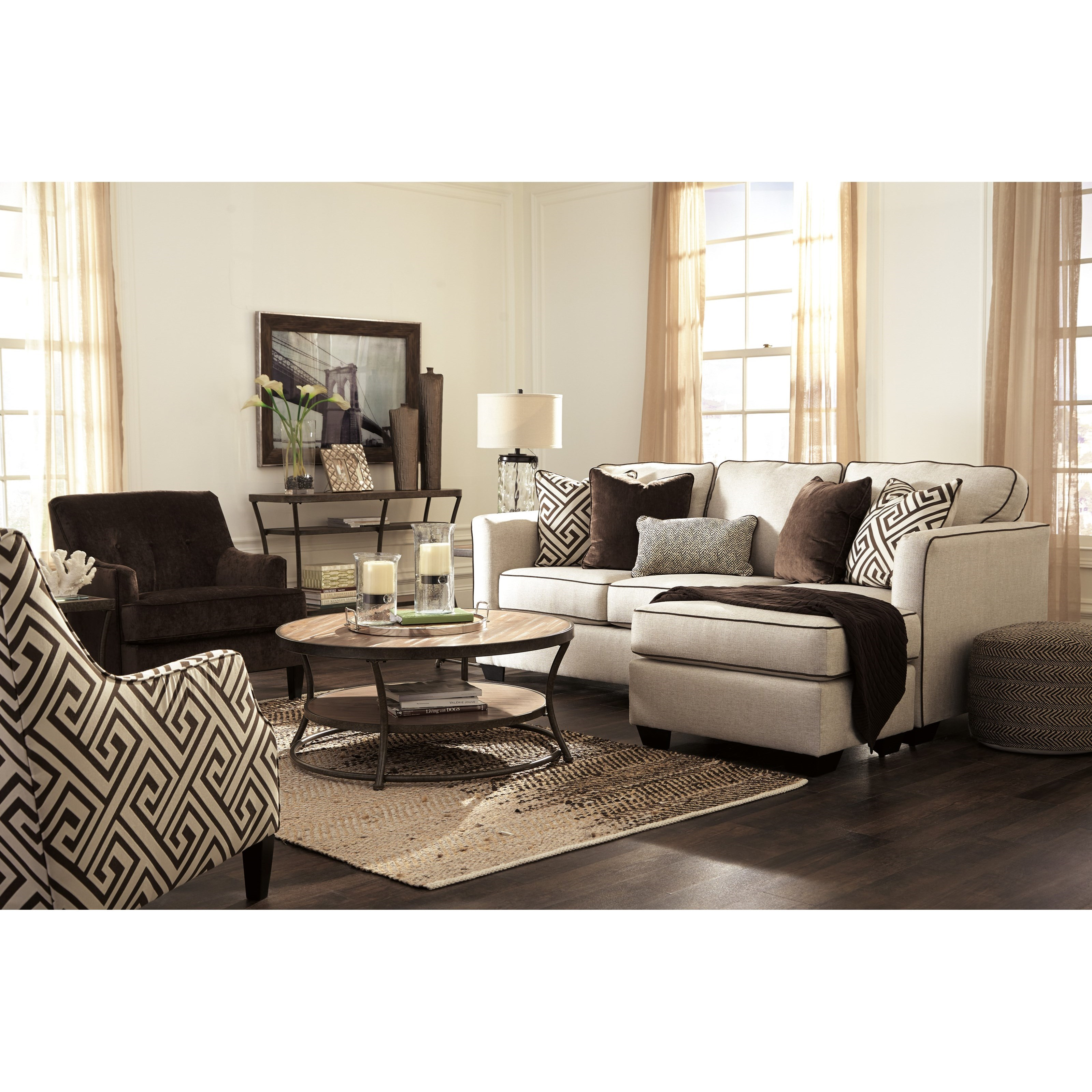 Benchcraft carlinworth contemporary sofa chaise with for Benchcraft chaise lounge