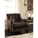 Benchcraft Carlinworth Brown Distressed Velvet Accent Chair