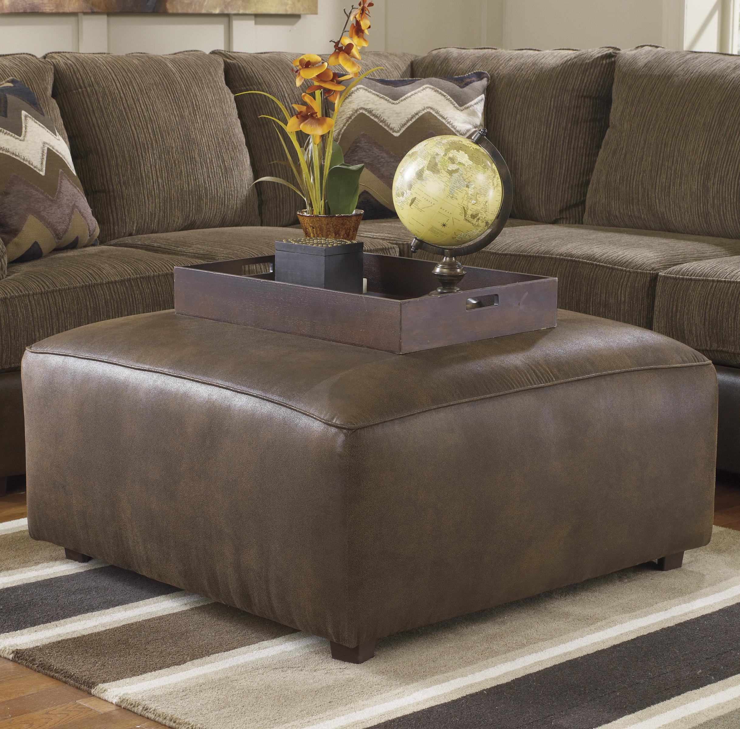 Benchcraft Cladio - Hickory Oversized Accent Ottoman - Item Number: 2410008