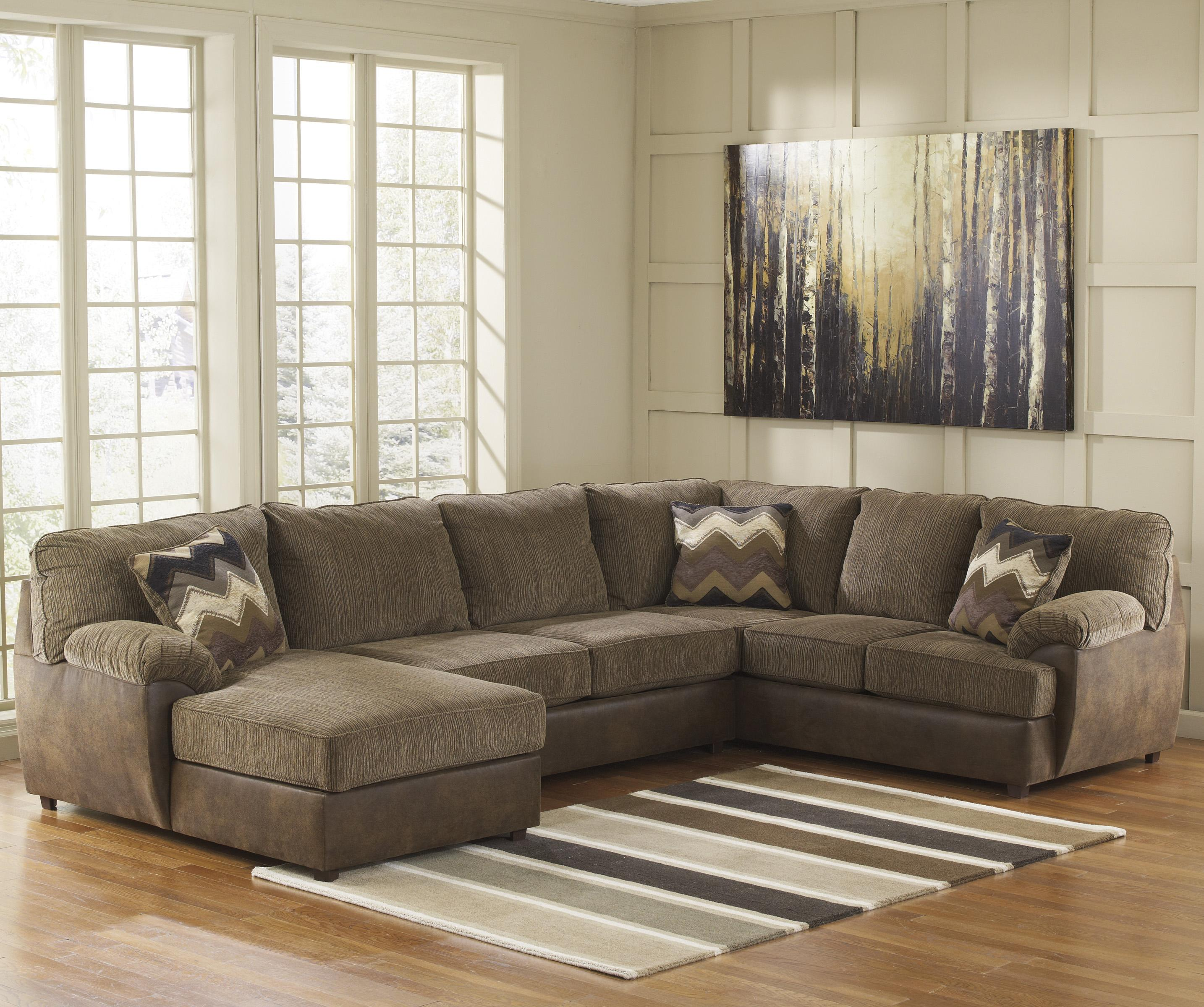 Benchcraft Cladio - Hickory 3-Piece Sectional with Left Chaise - Item Number: 2410016+34+67