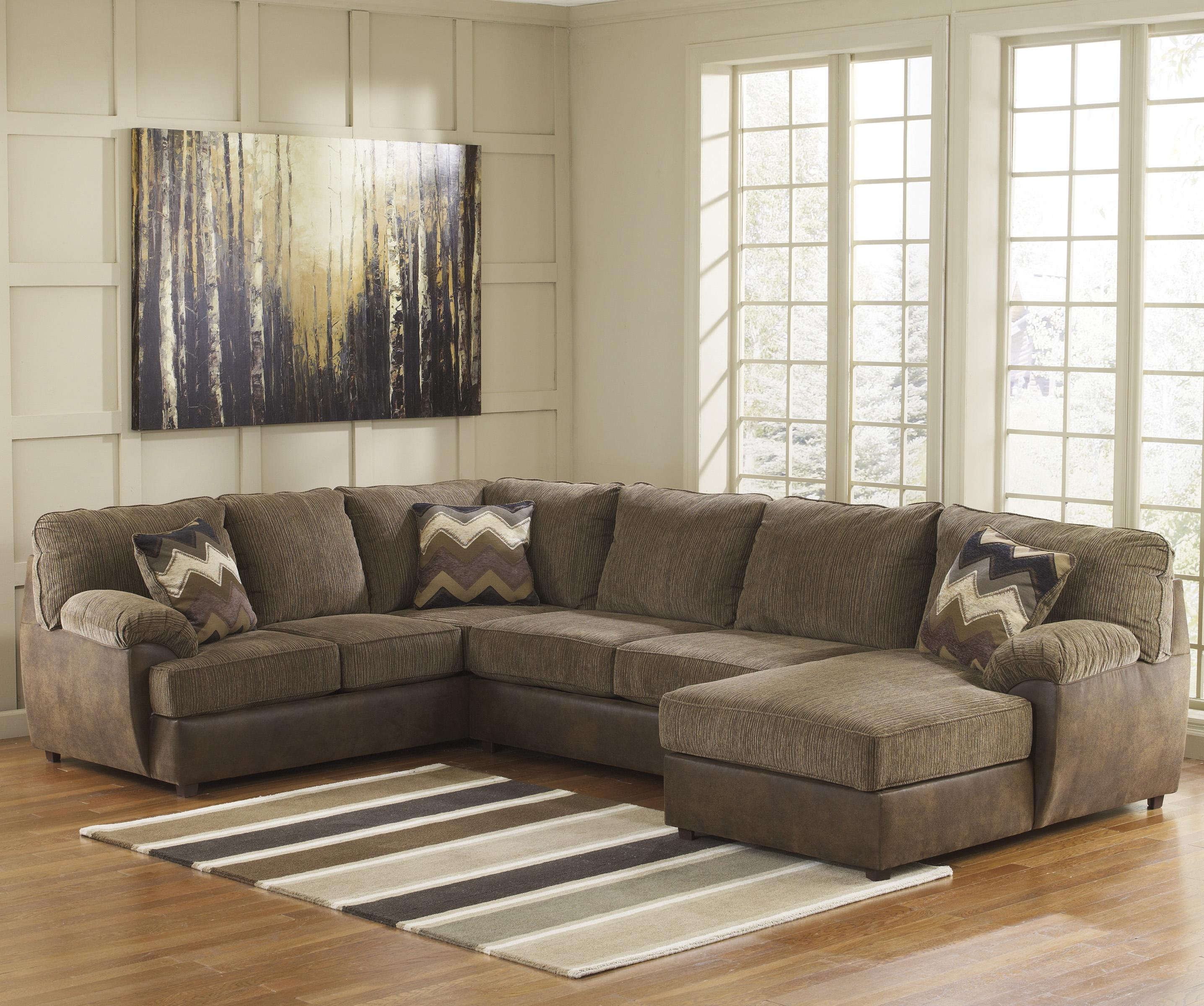 Benchcraft Cladio - Hickory 3-Piece Sectional with Right Chaise - Item Number: 2410066+34+17