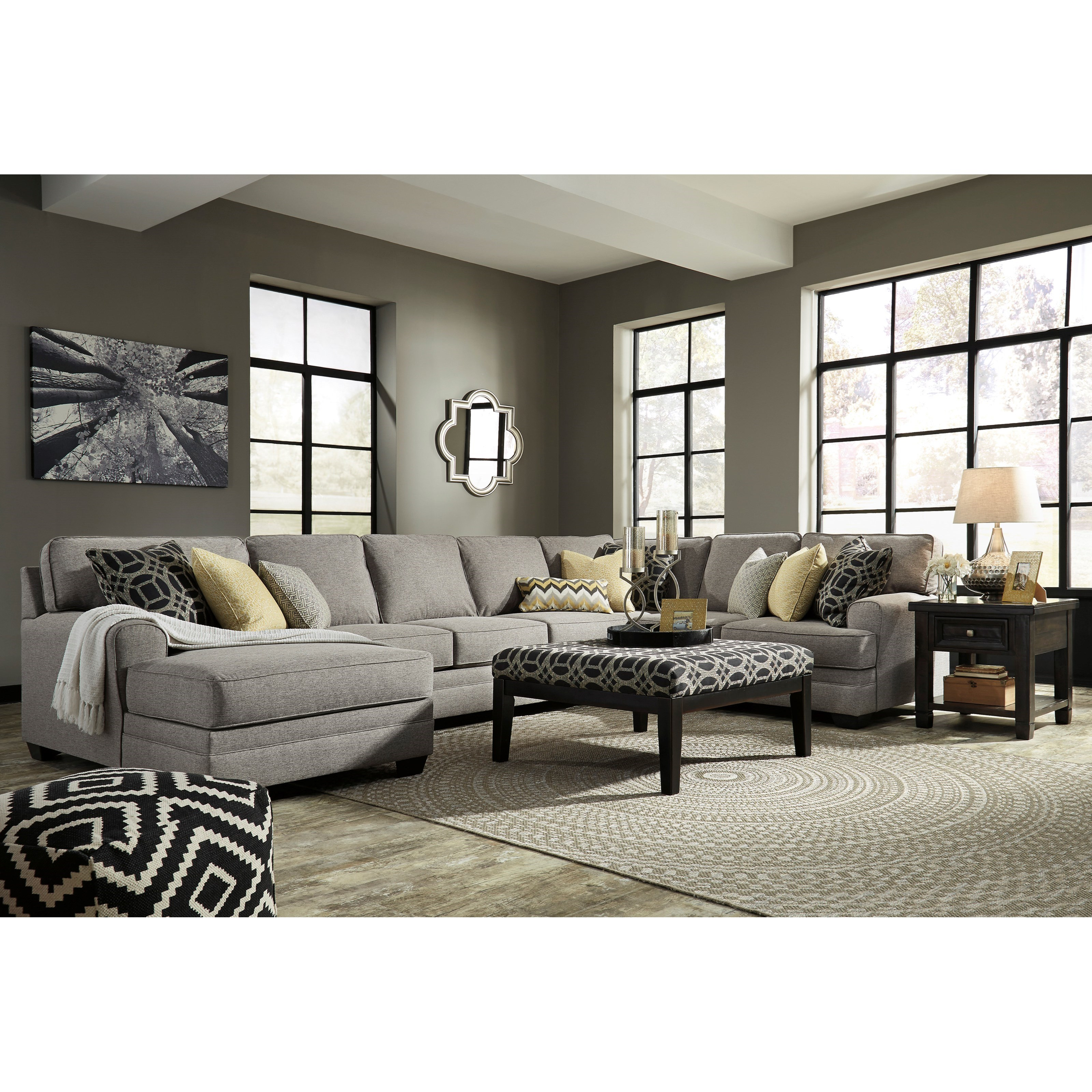 Benchcraft cresson contemporary 4 piece sectional with for Benchcraft chaise lounge