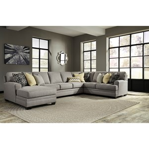 Ashley Cresson 4-Piece Sectional with Chaise & Armless Sofa