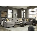 Benchcraft Cresson Contemporary 4-Piece Sectional with Chaise & Armless Sofa