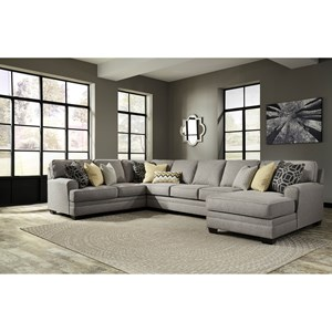 Benchcraft Cresson 4-Piece Sectional with Chaise & Armless Sofa
