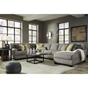 Ashley Cresson Contemporary 4-Piece Sectional with Chaise & Armless Sofa