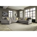Benchcraft Cresson 5-Piece Sectional with Cuddler - Item Number: 5490776+34+77+46+56