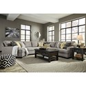 Ashley Cresson Contemporary 5-Piece Sectional with Cuddler