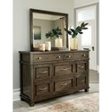Benchcraft Darloni Transitional 8 Drawer Dresser and Mirror Set