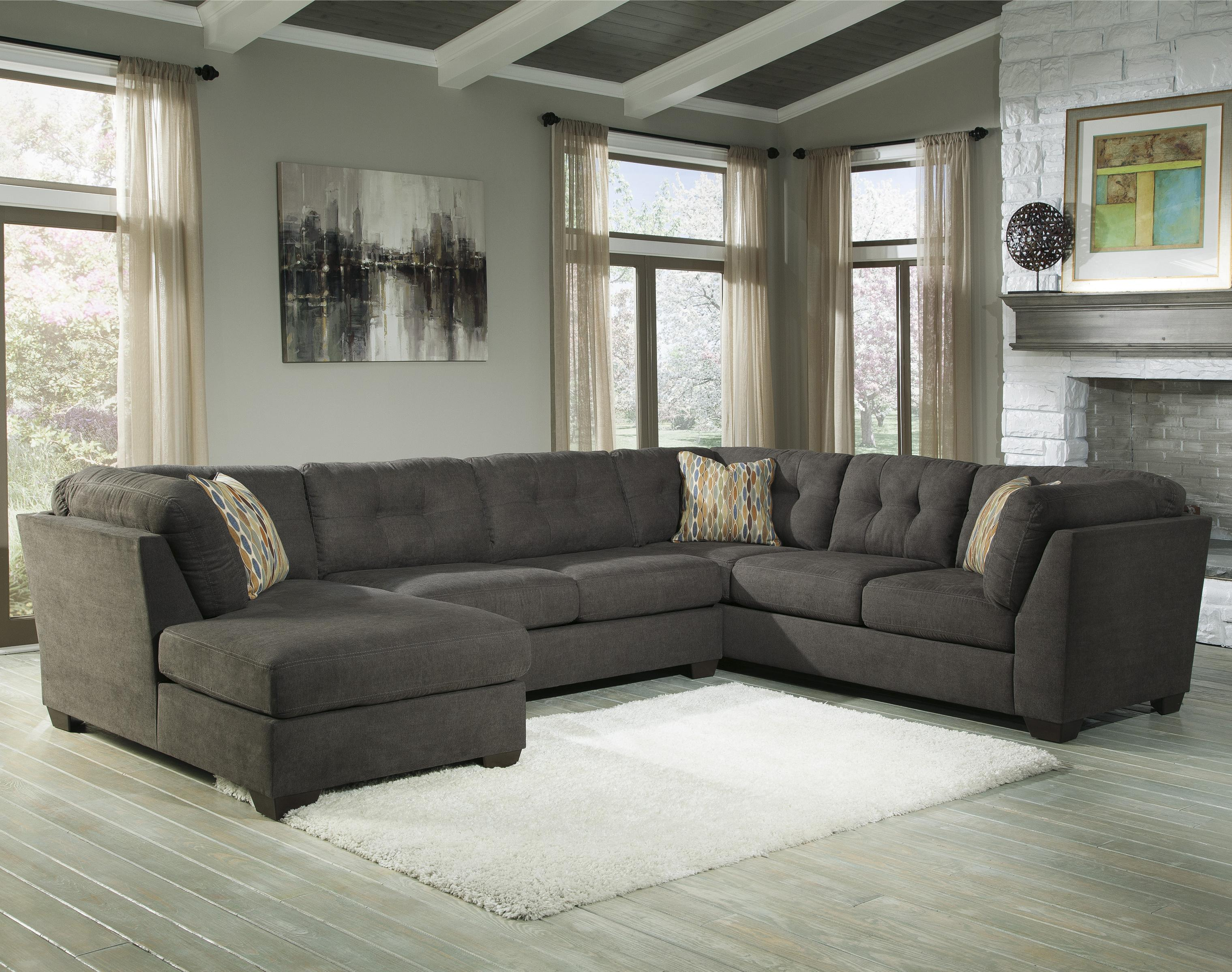 Benchcraft Delta City - Steel 3-Piece Sectional w/ Sleeper u0026 Left Chaise - : sectional sofa left chaise - Sectionals, Sofas & Couches