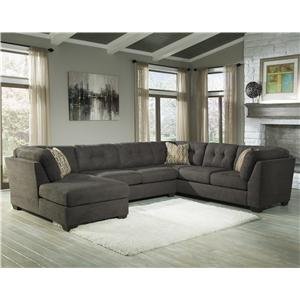 Benchcraft Delta City - Steel 3-Piece Sectional w/ Sleeper & Left Chaise