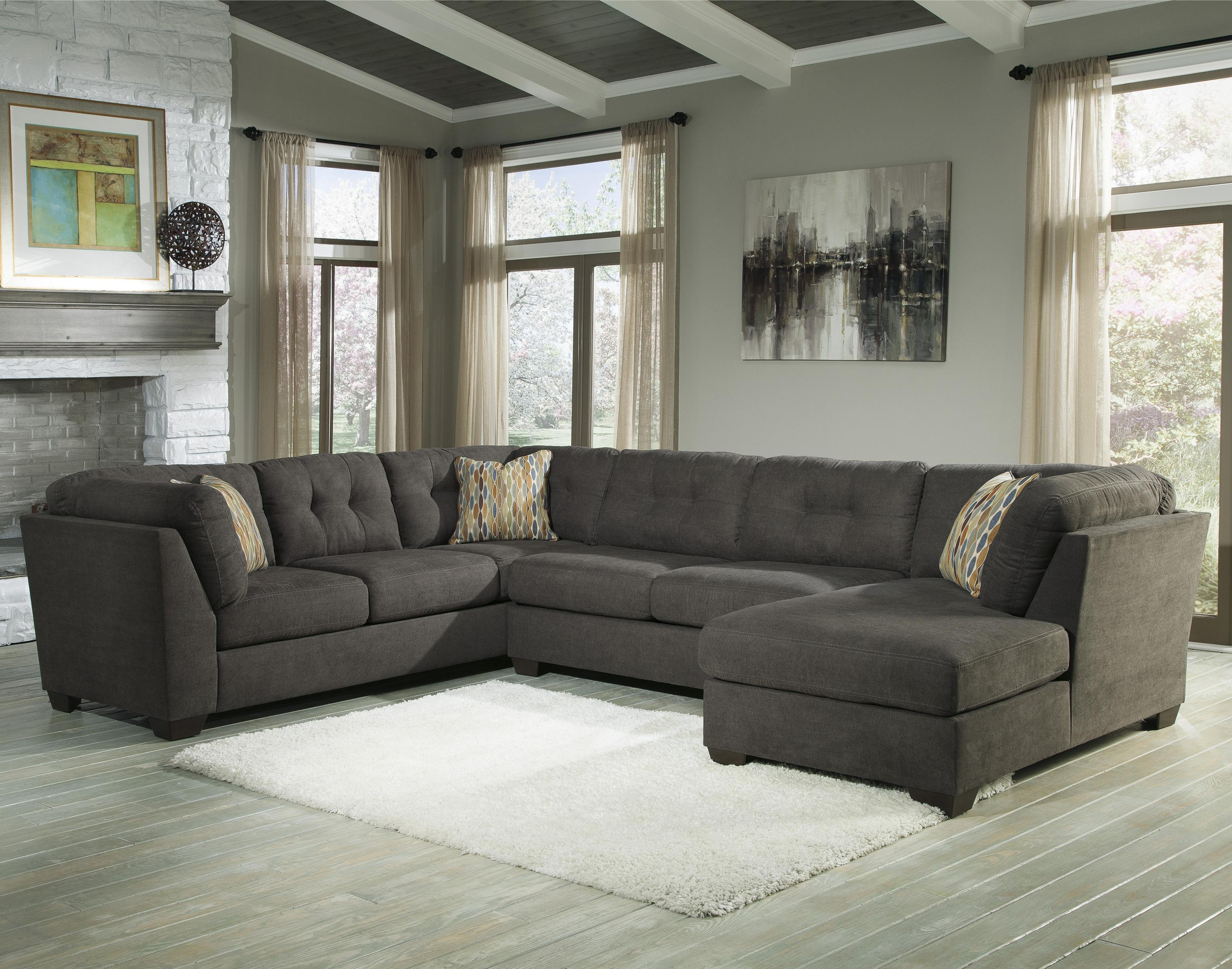 Benchcraft Delta City Steel 3 Piece Sectional W Sleeper Right Chaise