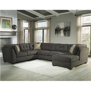 Benchcraft Delta City - Steel 3-Piece Sectional w/ Sleeper & Right Chaise