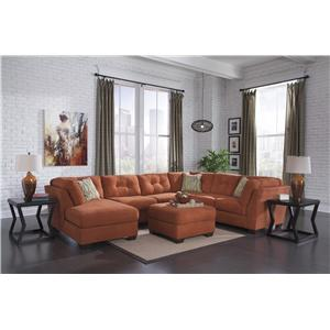 Benchcraft Delta City - Rust Stationary Living Room Group