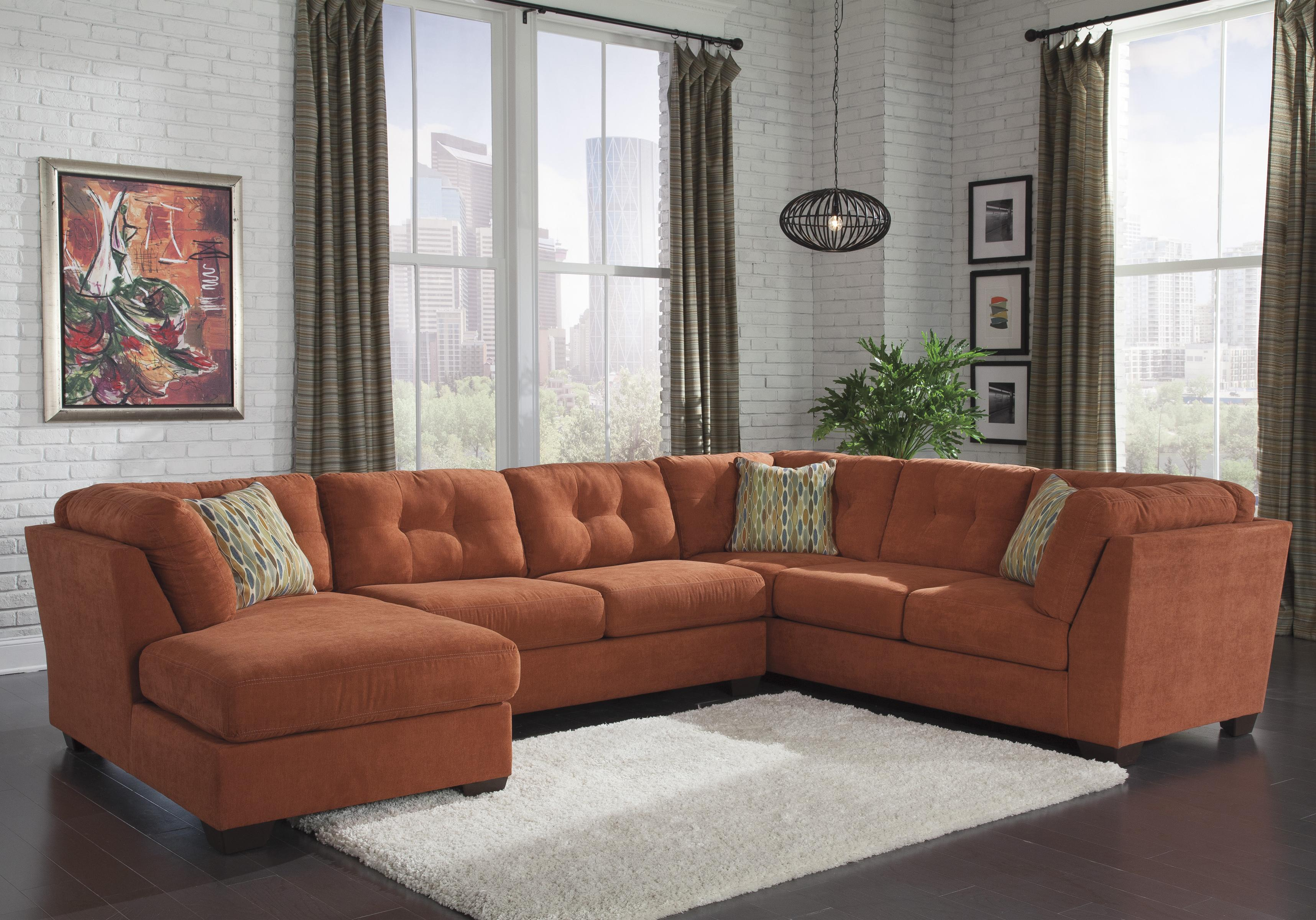 Benchcraft Delta City - Rust 3-Piece Modular Sectional with Left Chaise - Item Number: 1970116+34+38